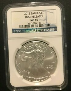 2012 Eagle S$1 Coin. One Ounce Silver., First Releases, MS69,
