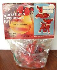 NIP Walco SANTA'S REINDEER Vintage Christmas Ornament Kit Sequins Makes 2