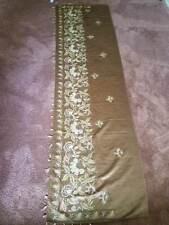 Antique Victorian Chain Stitch Embroidered Gold Silk Mantle Runner metallic lame