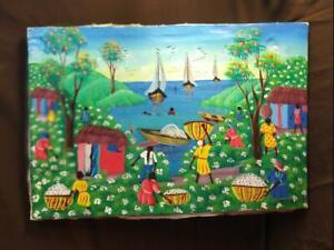 Vintage Haitian Art Portrait Painting Men Women Landscape Cotton Pickers Boats