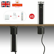 Silver Pull Pop Up 3 UK Plug 2 USB Electrical Socket Worktop Extension 1.8M Lead