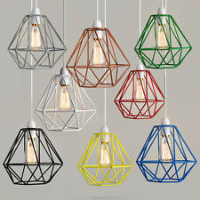 Modern Industrial Caged Metal Ceiling Pendant Light Shade Vintage Filament Bulb