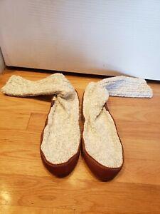 Acorn  Women 7.5-8.5 Men's 6-7 Slipper Socks Wool Upper Leather Bottom Grey shoe