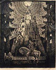 Original Holzschnitt>Parzifal<signiert und betitelt von Augustin Kolb # 665