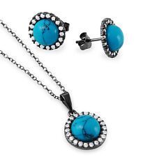 925 STERLING SILVER HALO NECKLACE PENDANT & EARRING SET W/ TURQUOISE/LAB DIAMOND