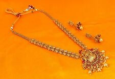 2405 Indian Bollywood Traditional Temple Gold Tone Fashion Necklace Jewelry Set