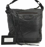 Authentic BALENCIAGA Classic Day Hand Bag Leather Black B3028