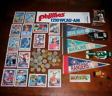 Junk Drawer Lot Coins Cars Stamp Baseball Collectibles Cards Pennants Sticker