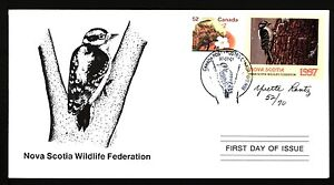 NOVA SCOTIA NSW6e 1997 SIGNED FIRST DAY COVER DOWNY WOODPECKER BY YVETTE LANTZ