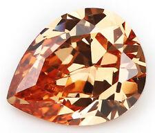 10X12MM 7.26CT AAAAA Natural Pear Champagne Zircon Diamonds Cut VVS Loose Gems