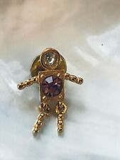 Pink & Clear Rhinestone Accents Lape Estate Small Goldtone Stick Figure Person w