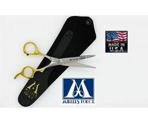 """MILLERS FORGE STRAIGHT SCISSOR SHEAR 5 1/2"""" w/ Case Pet Dog Cat Grooming 5.5"""""""