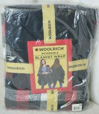 Woolrich Reversible Blanket Wrap Womens Check Plaid Red Black New