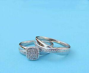 Ladies Genuine Diamond Cluster Wedding Set w/ 23 Diamonds - Sterling Silver
