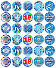18th Birthday Boy x 30 Cupcake Toppers Edible Wafer Paper Fairy Cake Toppers