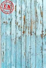 BLUE WOOD FLOOR BACKDROP WALLPAPER BACKGROUND VINYL PHOTO PROP 5X7FT 150x220CM