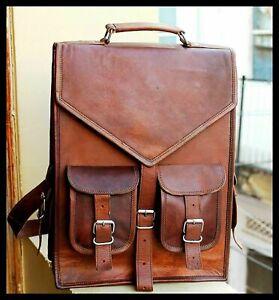 Men's New Genuine Leather Messenger Rucksack Leather Backpack Laptop Book Bag