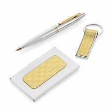 PEN SET 3 PIECE YELLOW STAINLESS STEEL PEN BUSINESS CARD HOLDER KEY CHAIN GIFT