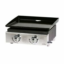 Big Horn Gas BBQ 2Burner Plancha in Stainless Steel Portable Outdoor Camping US