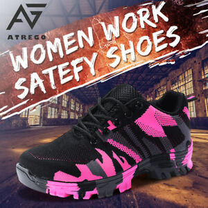 AtreGo Women Indestructible Safety Work Shoe Steel Toe Boots Mesh Light Sneakers