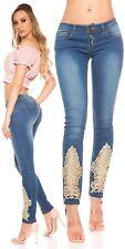 Koucla Push Up Jeanshose Damen Skinny Jeans mit Stickerei