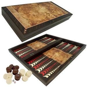 DELUXE Holz Backgammon Tavla Spiel Set GLOBE im XXL Format 50x50 cm