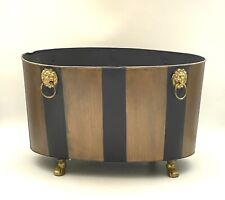 VINTAGE Black and Gold Handpainted CHINOISERIE Planter Brass Claw Feet Old World