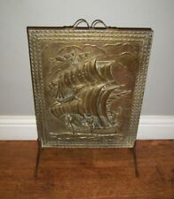 More details for vintage brass and iron fire screen with embossed relief image of a ship at sea