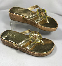 New Gymboree Girls 13 Gold Floral Cork Wedge Sandals Flip Flops Shoes READ FLAW