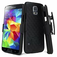 Samsung Galaxy S5 - HARD HOLSTER KICKSTAND COMBO CASE COVER with BELT CLIP BLACK