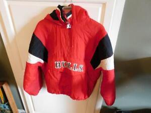 VTG Chicago Bulls Basketball Starter 1/4 Zip Pullover Jacket Hooded NBA Size Lrg