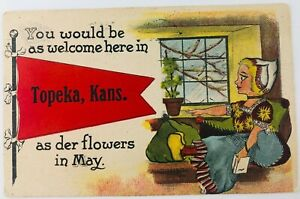 Vintage Topeka Kansas KS Comic Dutch Woman You Would Be as Welcome Here 1913