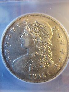 1834 Capped Bust Silver Half Dollar!  ICG certified EF45 Details 50c.