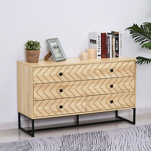 Chest Of 6 Drawers Sideboard Cabinet Storage Unit Bedroom Wood w/ Black Metal