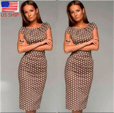 US Womens Cap Sleeve Polka Dot Dress Retro Stretch Bodycon Midi Dress Cocktail