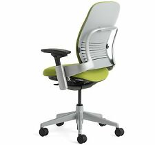 Large Steelcase Leap PLUS Adjustable Chair V2 Buzz2 Meadow Fabric 500lb Platinum