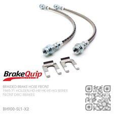 BRAIDED STAINLESS BRAKE HOSE DISC BRAKE FRONT KIT HOLDEN HK-HT-HG/MONARO SILVER