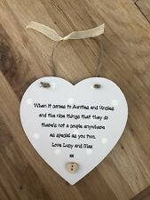 Shabby personalised Gift Chic Auntie & Uncle Great aunt hanging heart any Name