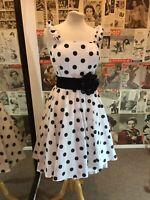 1950's Dress Vintage Rockabilly Style Polka Dot Swing Stunner 12/14 Worn Once