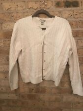 Eddie Bauer Cable knit Cardigan Sweater~Large~Cream~Cotton Blend