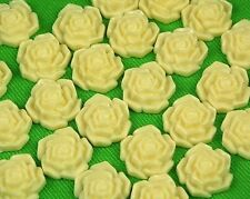 25 Ivory Flowers Resin Flatbacks Scrapbooking Cabochons Bow Loose Jewelry Making