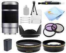 Sony SEL55210 55-210mm f/4.5-6.3 Lens (SILVER) with Essential Lens Bundle