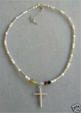 PEARL STERLING AND SWAROVSKI CHRISTIAN NECKLACE JEWELRY