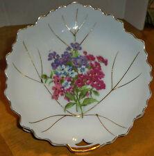Vintage Leaf Shaped Collector/Candy Plate/Dish Japan Floral Gold Trim