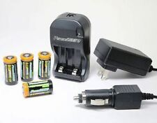 OPEN Power2000 4 CR123A Lithium Rechargeable Batteries & 110/220V Rapid Charger