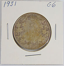 CANADA: 1931 50 Cents Silver Coin - Graded G6