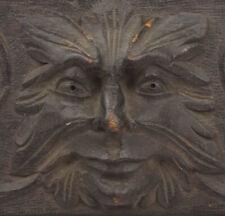 More details for antique victorian carved oak green man panel rectangular