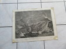 GRANDE GRAVURE VOLCAN  ITALIE VUE DU VESUVE EN 1754 NAPLES