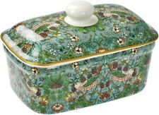 China Lidded Butter Dish With William Morris Strawberry Thief Pattern
