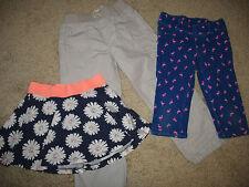 Girls' size 5 Flamingo Capris Roll-up Beach Pants Flowered Skort Skirt lot of 3